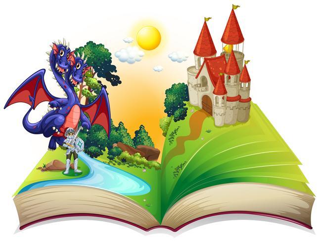 Libro di fiabe con cavaliere e drago vettore