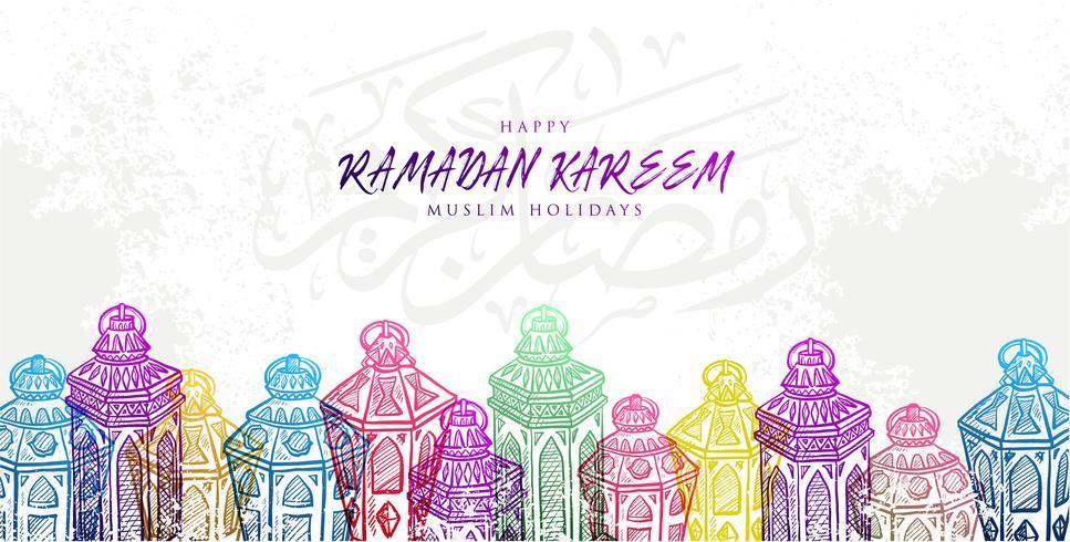 Illustrazione vettoriale Schizzo di disegnata a mano Ramadan Kareem Lantern in gradazione di colore colorato con sfondo grunge.