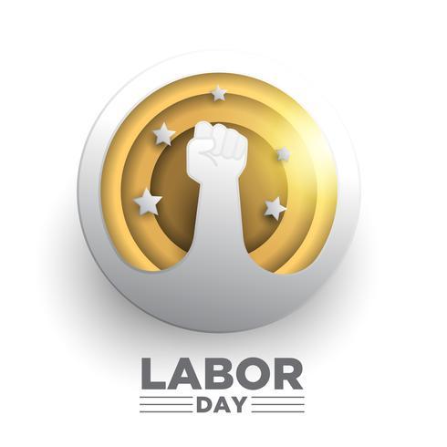 Design creativo del Labor Day. Stile di arte di carta del cerchio vettore