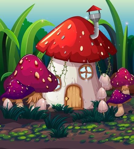 Incantata casa dei funghi magici vettore