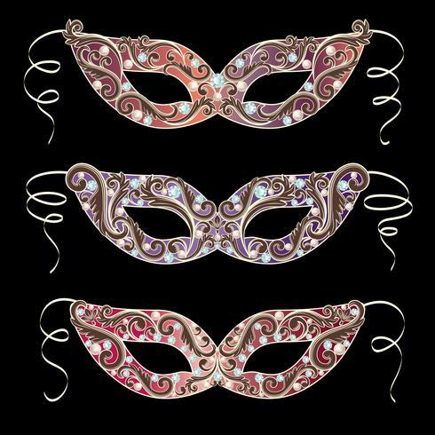 Maschera di carnevale veneziano vettore