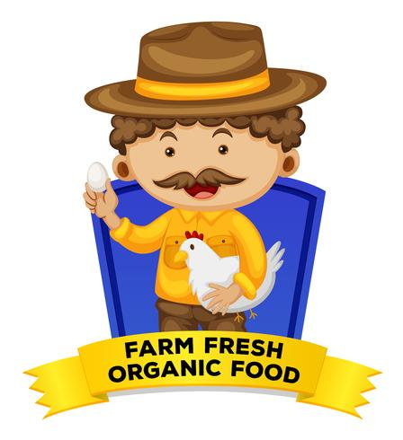 Wordcard di occupazione con alimenti biologici freschi di fattoria vettore