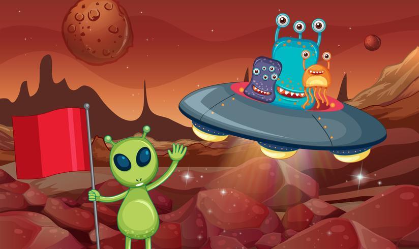 Alieni in UFO che volano intorno alla superficie del pianeta vettore