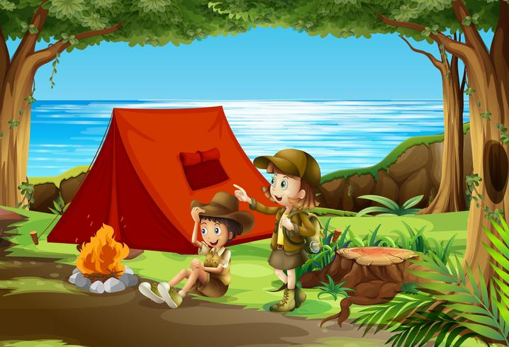Boy e girl scout in campeggio in natura vettore