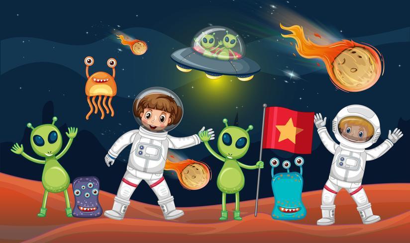 Tema spaziale con due astronauti e molti alieni vettore