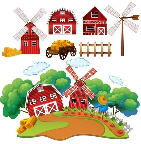 Una fattoria e una casa del granaio vettore