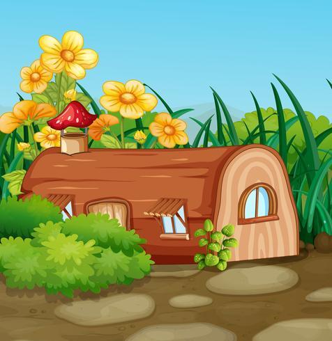 Casa in legno incantato in natura vettore