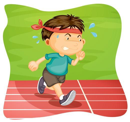 Un ragazzo che corre sulla pista di atletica vettore