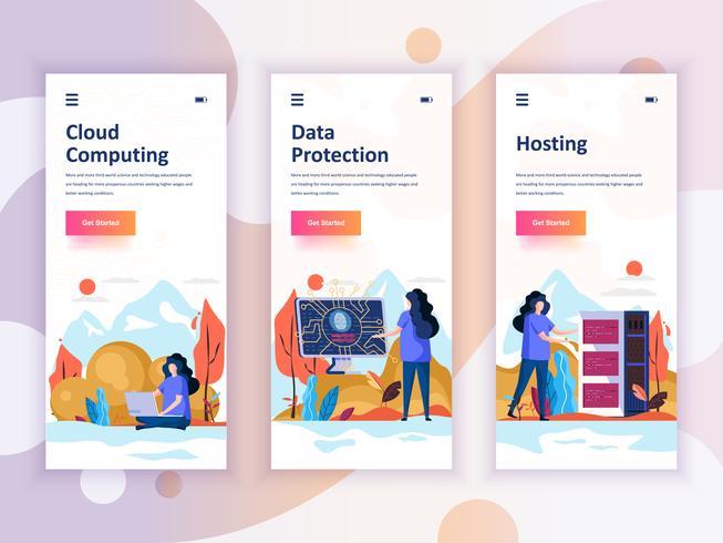 Set di kit di interfaccia utente per schermi onboarding per Cloud Computing, Protezione, Hosting, concetto di modelli di app per dispositivi mobili. UX moderno, schermo dell'interfaccia utente per sito web mobile o reattivo. Illustrazione vettoriale