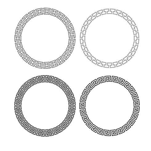 cornici di cerchio nero traforo vettore