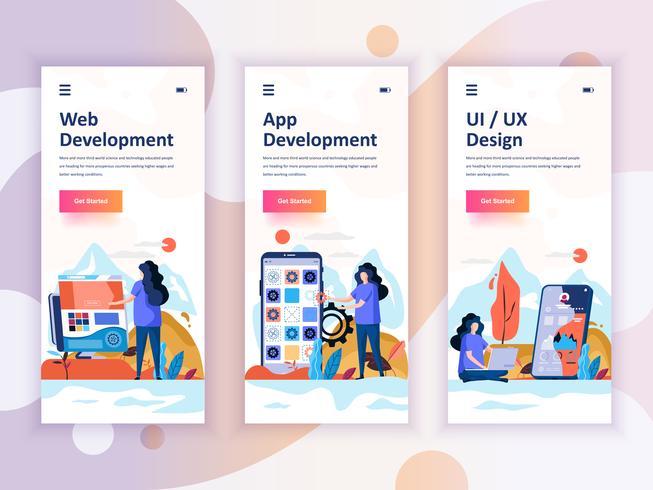 Set di kit di interfaccia utente per schermi onboarding per sviluppo Web e App, UI Design, concept di modelli di app per dispositivi mobili. UX moderno, schermo dell'interfaccia utente per sito web mobile o reattivo. Illustrazione vettoriale