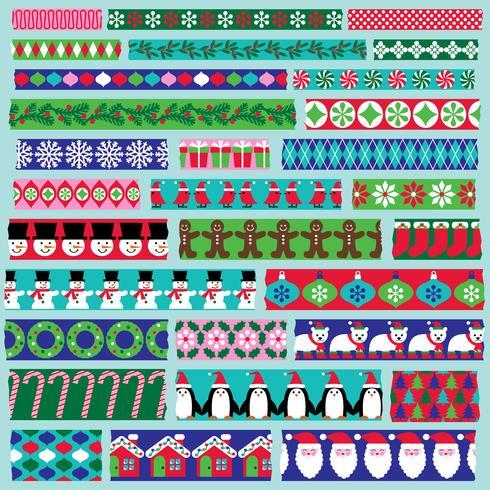 Clipart del nastro washi di Natale vettore