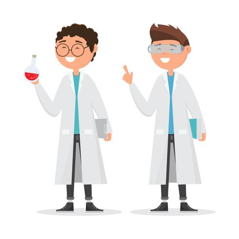 bambini in caratteri diversi. ricerca scolastica in chimica. vettore