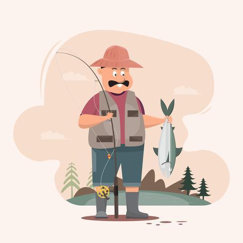 Carattere del pescatore che tiene un grande pesce e una canna da pesca vettore