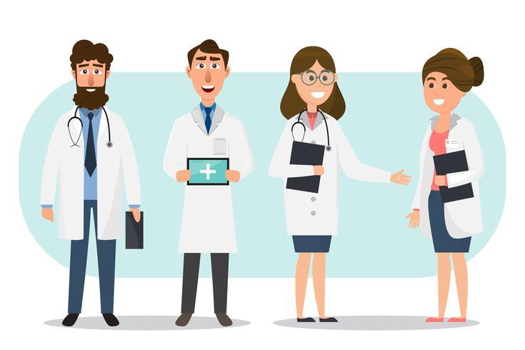 Set di personaggi dei cartoni animati di medico e infermiera vettore