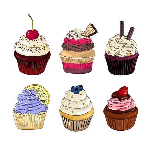 Set di cupcakes su uno sfondo bianco. vettore