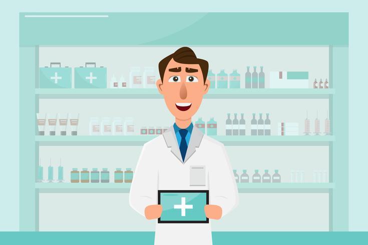farmacia con medico in contatore. personaggio dei cartoni animati di farmacia vettore