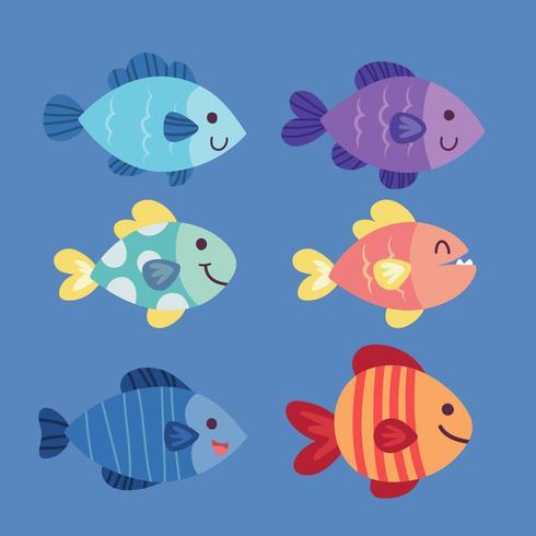 Caratteri vettoriali pesce divertente. Vettore stabilito del pesce tropicale variopinto della barriera corallina. Raccolta di pesci di mare isolato su sfondo bianco. Pesci di acquario del fumetto o icone tropicali di barriera corallina. Pesci barriera cor