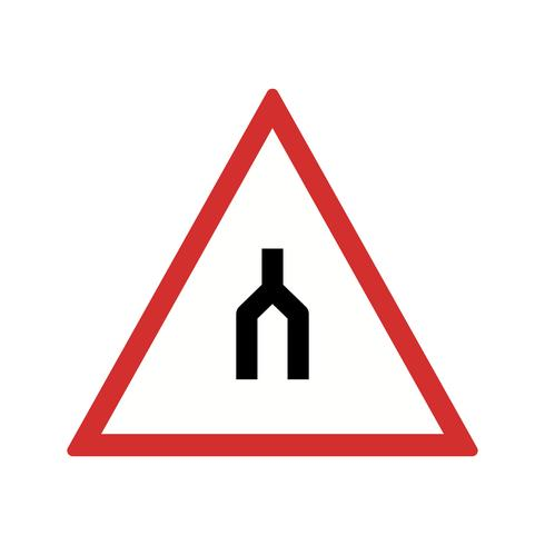 Vettore doppio carreggiata finisce l'icona del cartello stradale