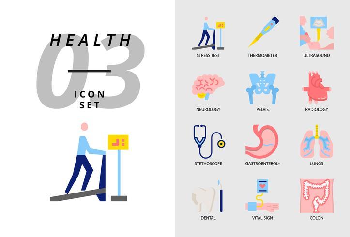 Icon pack per salute, ospedale, stress test, termometro, ultrasuoni, neurologia, pelvi, radiologia, stetoscopio, gastroenterologo, polmoni, dentale, segno vitale, colon. vettore
