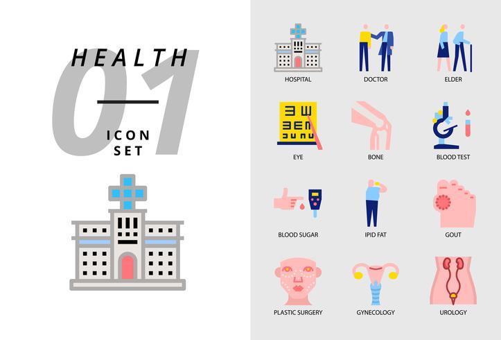 Icon pack per salute, ospedale, medico, anziano, occhio, osso, analisi del sangue, zucchero nel sangue, grasso ipid, gotta, chirurgia plastica, ginecologia, urologia. vettore