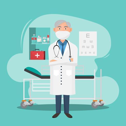 Set di caratteri medici con elementi e strumenti medici. vettore