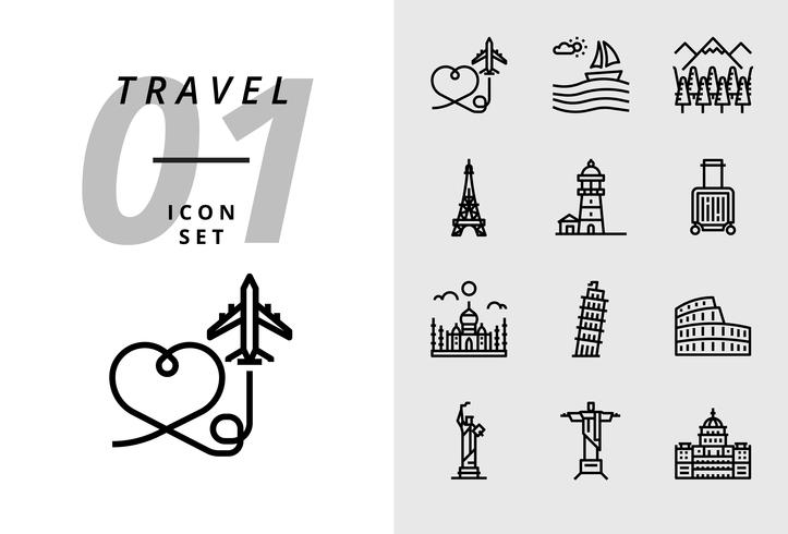 Confezione icona per viaggio, aereo aereo, scenario, foresta, torre di Parigi, faro, borsa trolley, Taj Mahal, torre di Pisa, colosseo, statua di stati uniti, deja neiro, uso del capitale. vettore