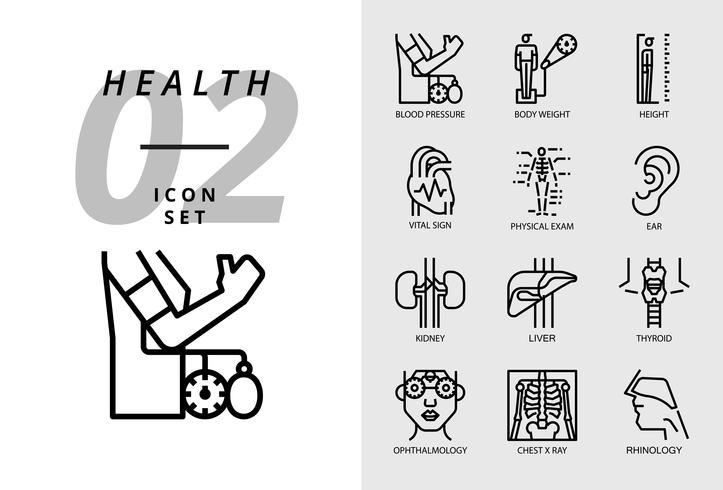 Icon pack per salute, ospedale, pressione sanguigna, peso corporeo, altezza, segno vitale, esame fisico, orecchio, rene, fegato, tiroide, oculista, radiografia del torace, rinologia. vettore