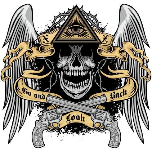 emblema aggressivo con teschio vettore