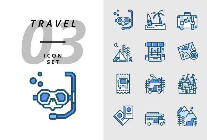 Pack icon for travel, Scuba, spiaggia, valigia, campeggio, zaino, mappa, biglietto dell'autobus, camper, castello, passaporto, camper, montagna di ghiaccio. vettore