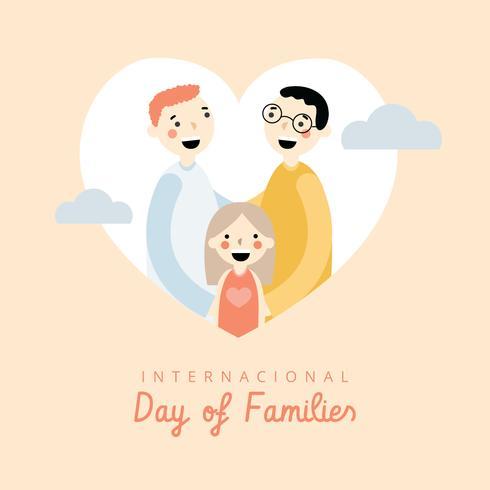 Famiglia LGBt con cuore alla giornata internazionale delle famiglie vettore