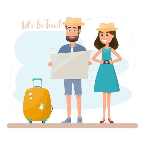 le persone viaggiano coppia con borsa per una vacanza vettore