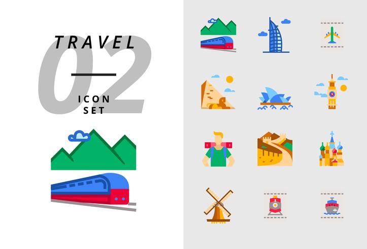 Confezione da icona per viaggio, trasporto ferroviario, Dubai, biglietto aereo, piramide, opera, Big Ben, zaino in spalla, Grande Muraglia, Taj Mahal, mulino a vento, biglietto del treno, biglietto della nave. vettore