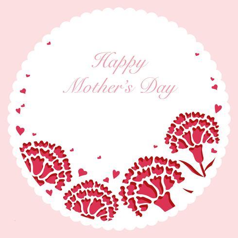 Blocco per grafici rotondo del garofano di vettore con lo spazio del testo per la festa della Mamma.