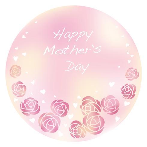 Cornice rotonda rosa vettoriale con lo spazio del testo per la festa della mamma.