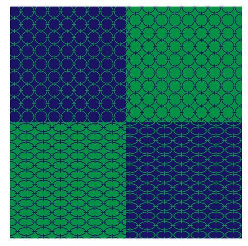 modelli a catena geometrica blu e verde vettore