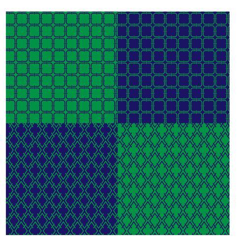 motivi geometrici blu e verdi vettore