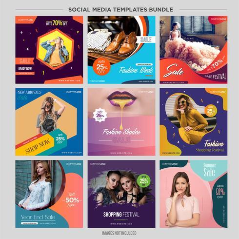 Kit di modelli di social media multiuso booster.sale e banner di sconto, adatti alla tua promozione vettore