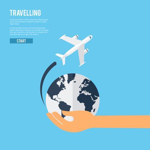 Icona del concetto di viaggio globale della terra vettore
