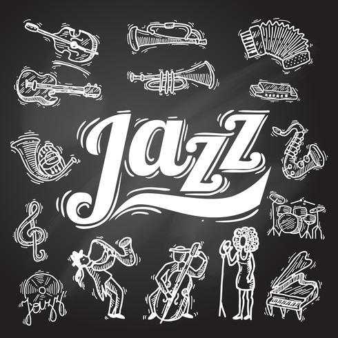 Set di lavagna jazz vettore