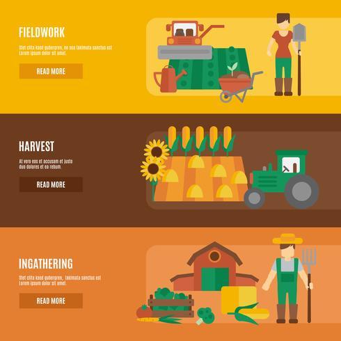 Insegne piane del terreno coltivatore messe vettore