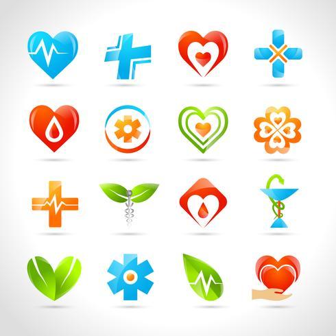 Icone mediche di logo vettore