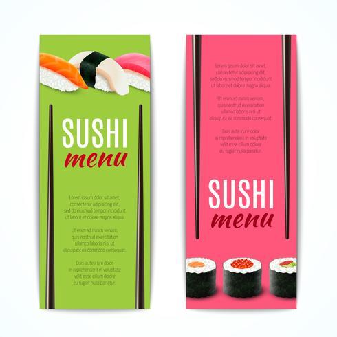 Banner di sushi verticale vettore
