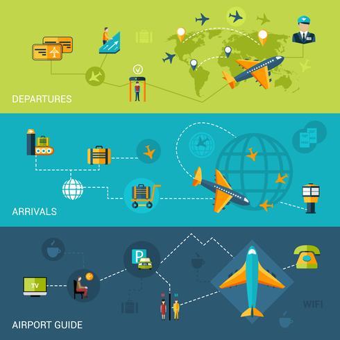 Set di banner aeroporto vettore