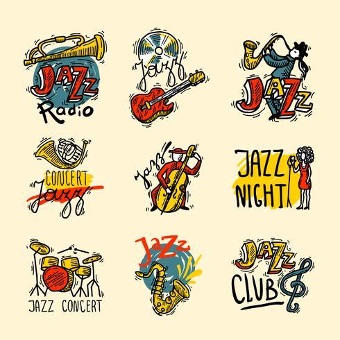Set di etichette jazz vettore