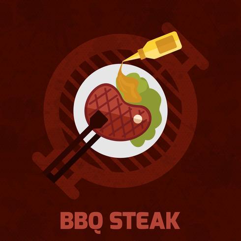 poster bistecca barbecue vettore