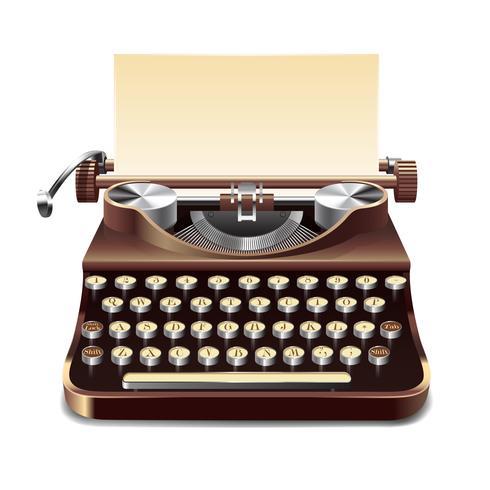 Illustrazione realistica della macchina da scrivere vettore