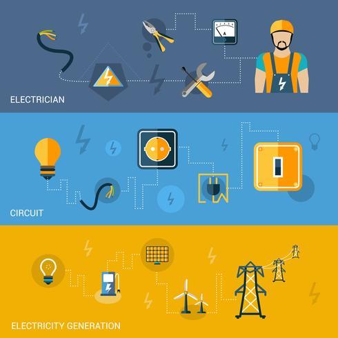 Set di banner di elettricità vettore