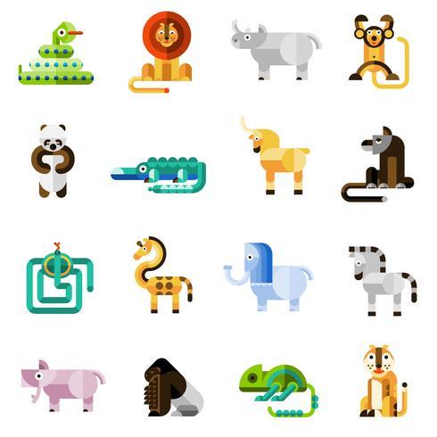 Set di animali della giungla vettore