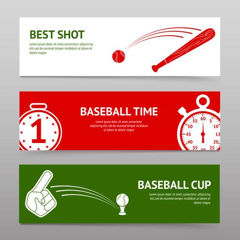 Set di bandiere di baseball vettore